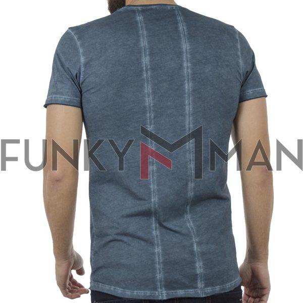 Κοντομάνικη Μπλούζα T-Shirt Back2jeans B31 Indigo