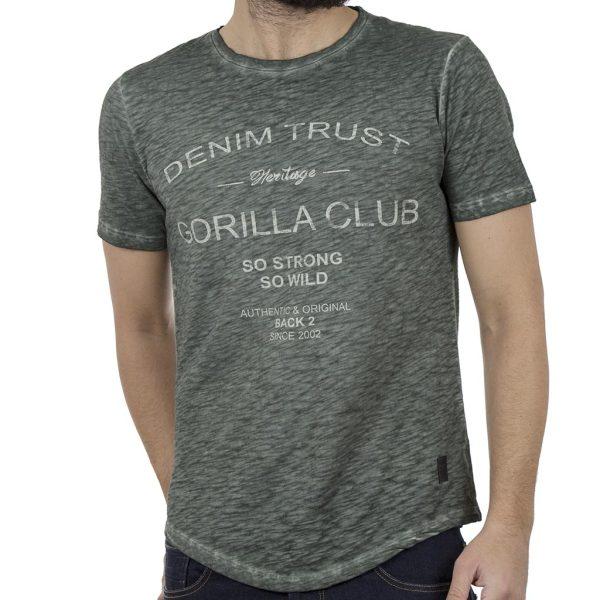 Κοντομάνικη Μπλούζα T-Shirt Back2jeans B4 Πράσινο