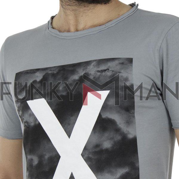 Κοντομάνικη Μπλούζα T-Shirt Back2jeans B46 Γκρι