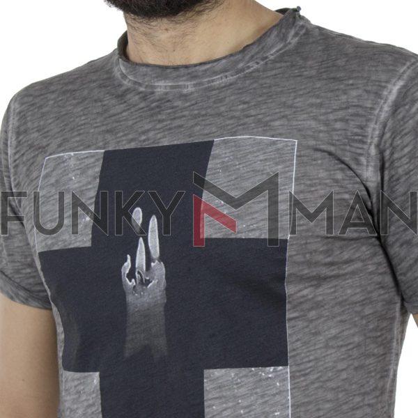 Κοντομάνικη Μπλούζα T-Shirt DAMAGED MD32 Ανθρακί