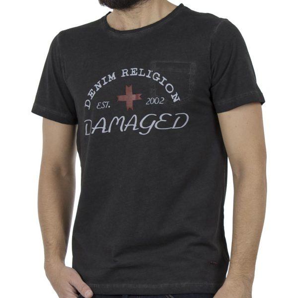 Κοντομάνικη Μπλούζα T-Shirt DAMAGED MD34 Ανθρακί