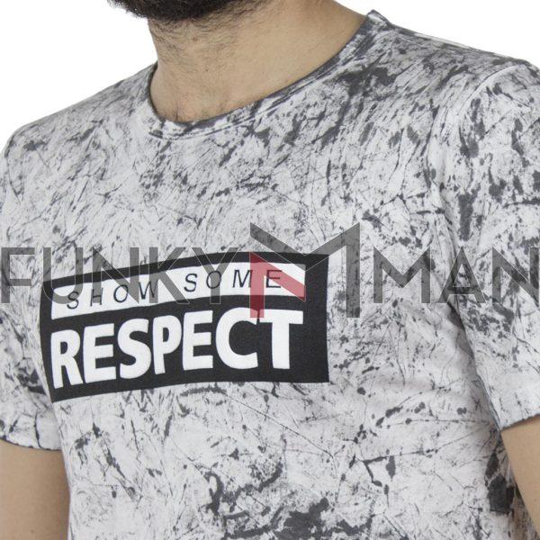 Κοντομάνικη Μπλούζα T-Shirt All Over Print DAMAGED MD6 Ανθρακί
