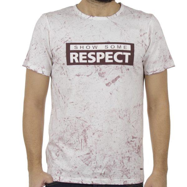 Κοντομάνικη Μπλούζα T-Shirt All Over Print DAMAGED MD6 Μπορντώ
