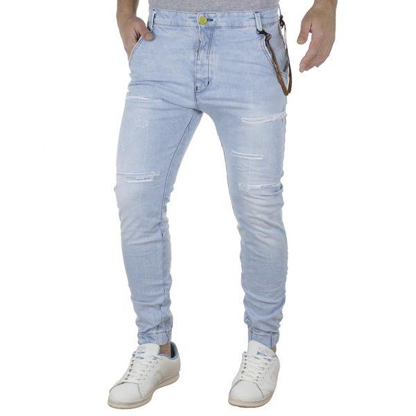 Τζιν Chinos Παντελόνι με Λάστιχα Back2jeans B6F slim Sky Blue