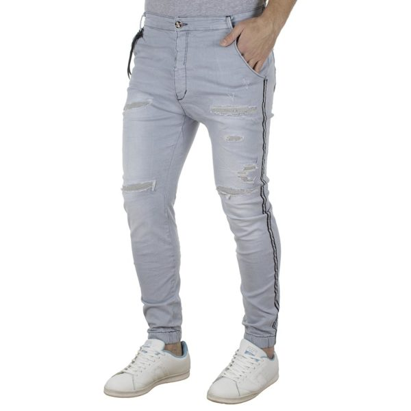 Jean Παντελόνι Chinos με Λάστιχα DAMAGED Slim D32 ανοιχτό Μπλε