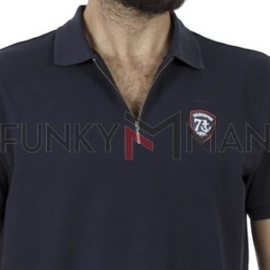 Κοντομάνικη Μπλούζα με Γιακά Polo BATTERY 101003491 Navy