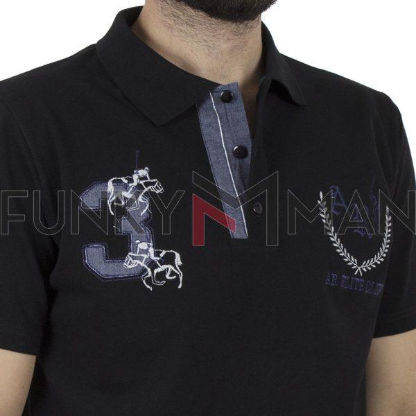 Κοντομάνικη Μπλούζα Polo Pique 220gr CARAG 99-555-19N Μαύρο