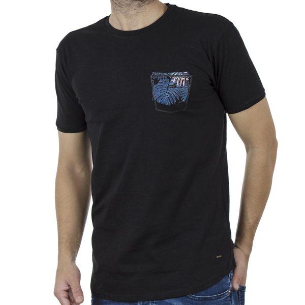 Κοντομάνικη Μπλούζα Crew Neck Flama T-Shirt DOUBLE TS-86 Μαύρο