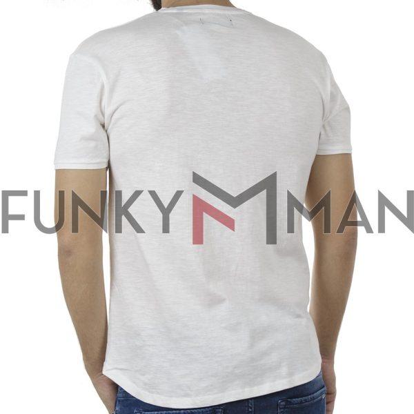 Κοντομάνικη Μπλούζα Crew Neck Flama T-Shirt DOUBLE TS-86 Λευκό