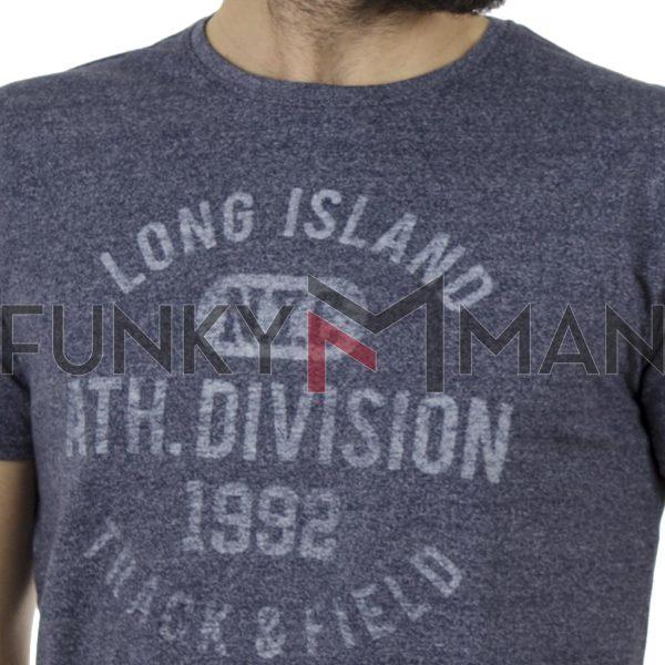 Κοντομάνικη Μπλούζα T-Shirt DOUBLE TS-89 Melange Μπλε
