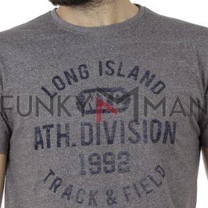 Κοντομάνικη Μπλούζα T-Shirt DOUBLE TS-89 Melange Γκρι