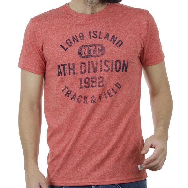 Κοντομάνικη Μπλούζα T-Shirt DOUBLE TS-89 Melange Κόκκινο