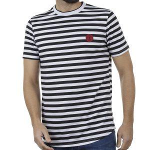 Ριγέ Κοντομάνικη Μπλούζα T-Shirt FREE WAVE 91103 Μαύρο