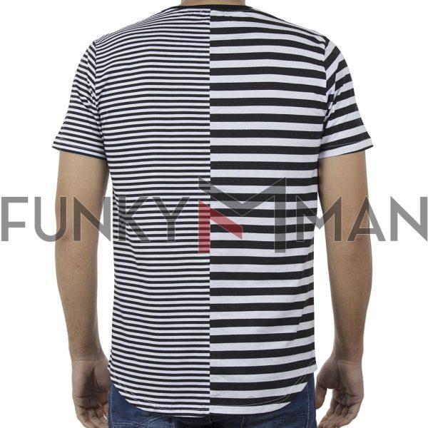 Ριγέ Κοντομάνικη Μπλούζα T-Shirt FREE WAVE 91104 Μαύρο
