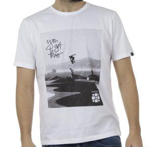 Κοντομάνικη Μπλούζα Jersey T-Shirt HOODLOOM Skateboarder HSB-1-15 Λευκό