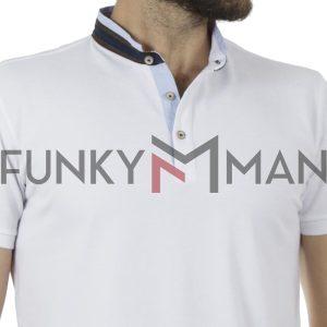 Κοντομάνικη Μπλούζα με Γιακά Μάο Pique T-Shirt MONTOBENE MAO-1 Λευκό