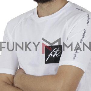 Κοντομάνικη Μπλούζα T-Shirt PONTEROSSO 19-1023 SLEEVES Λευκό