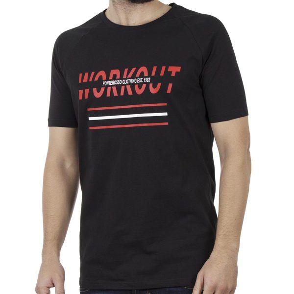 Κοντομάνικη Μπλούζα T-Shirt PONTEROSSO 19-1029 WORKOUT Μαύρο