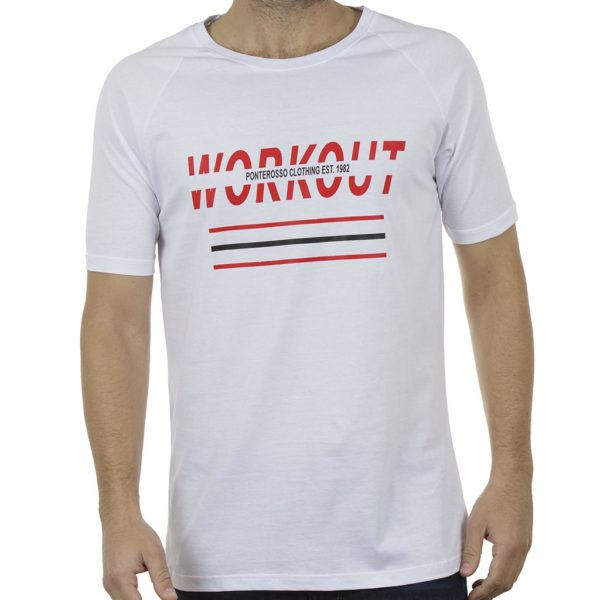 Κοντομάνικη Μπλούζα T-Shirt PONTEROSSO 19-1029 WORKOUT Λευκό