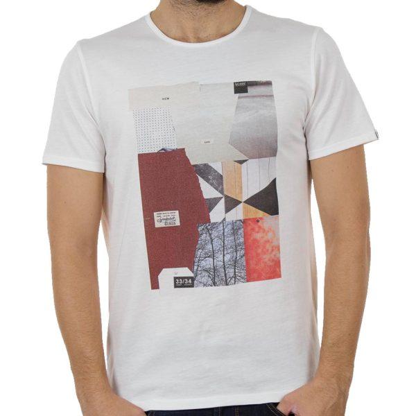 Κοντομάνικη Μπλούζα T-Shirt SCINN ST034 Εκρού