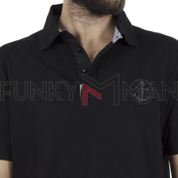 Κοντομάνικη Μπλούζα Polo Pique 130gr CARAG 22-577-19N Μαύρο