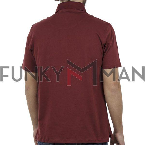 Κοντομάνικη Μπλούζα Polo Pique 130gr CARAG 22-577-19N Μπορντώ