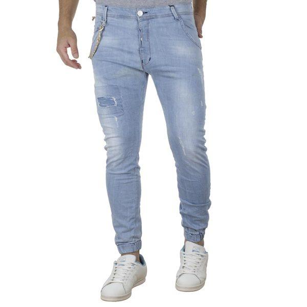 Τζιν Παντελόνι Chinos με Λάστιχα DAMAGED Slim Carrot D21C ανοιχτό Μπλε
