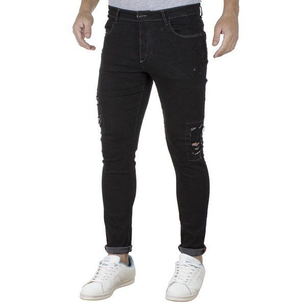 Τζιν Παντελόνι Slim Fit DAMAGED jeans D27B Μαύρο