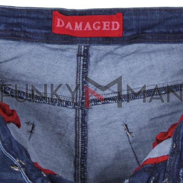 Τζιν Παντελόνι DAMAGED jeans slim fashion D5B SS19 Μπλε