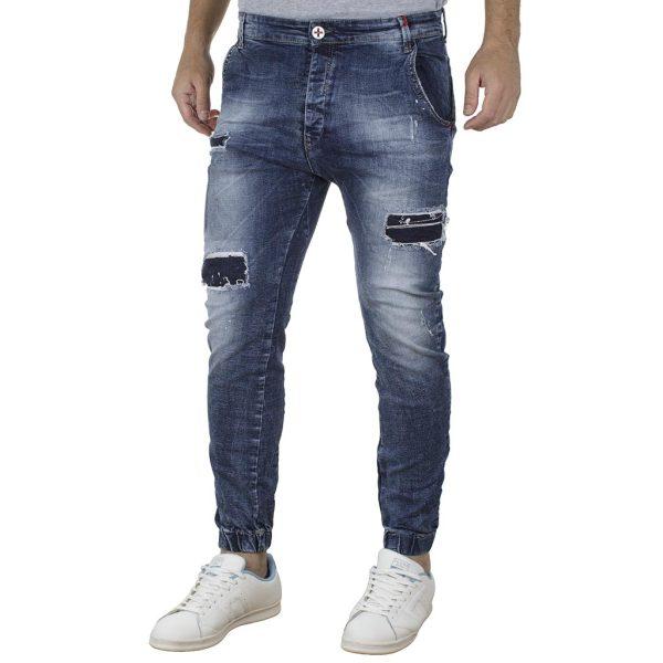 Jean Chinos Παντελόνι Slim με Λάστιχα DAMAGED jeans D6A SS19 Μπλε