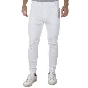 Jean Chinos Παντελόνι Slim με Λάστιχα DAMAGED D6BW Λευκό