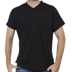 Κοντομάνικο V-Neck Fashion T-Shirt FREE WAVE 81127 Μαύρο