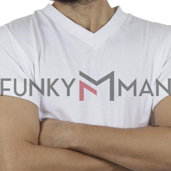 Κοντομάνικο V-Neck Fashion T-Shirt FREE WAVE 81127 Λευκό