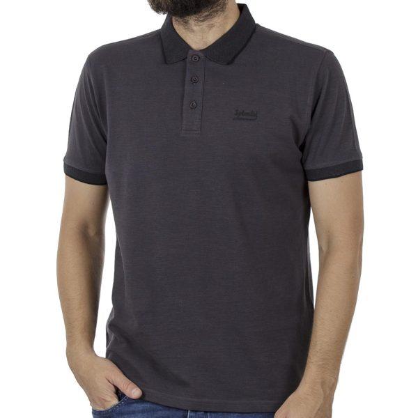 Κοντομάνικη Μπλούζα με Γιακά Polo SPLENDID 41-206-014 Ανθρακί