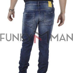 Τζιν Παντελόνι Slim Fit Back2jeans B27 σκούρο Μπλε