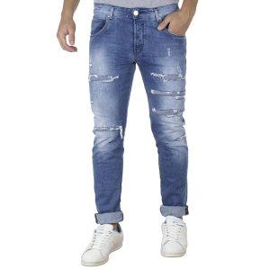 Τζιν Παντελόνι Slim Fit Back2jeans B4B Μπλε