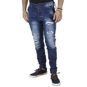 Τζιν Chinos Slim Style Παντελόνι με Λάστιχα Back2jeans B6A Μπλε