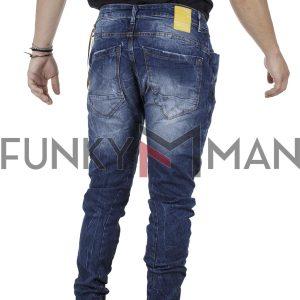 Τζιν Chinos Style Παντελόνι με Λάστιχα Back2jeans B6G slim Μπλε