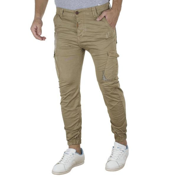 Cargo Παντελόνι με Λάστιχα Army Back2jeans M60 Camel