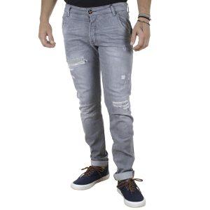Τζιν Chinos Style Παντελόνι DAMAGED jeans D2 slim Γκρι