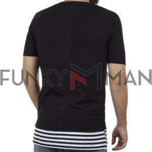 Κοντομάνικη Μπλούζα Fashion T-Shirt PONTEROSSO 18-1149 Μαύρο