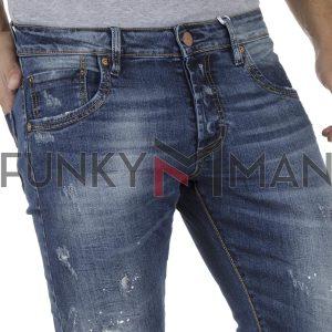 Τζιν Παντελόνι Slim Fit SHAFT Jeans 5698 Μπλε