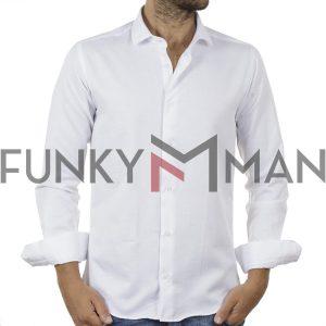 Μακρυμάνικο Πουκάμισο Slim Fit ENDESON FASHION 135-100 Λευκό