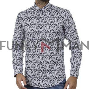 Μακρυμάνικο Πουκάμισο All Over Print Slim Fit ENDESON FASHION 7020 Μαύρο