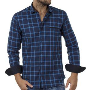 Καρό Μακρυμάνικο Πουκάμισο Slim Fit ENDESON FASHION 7050 Μπλε
