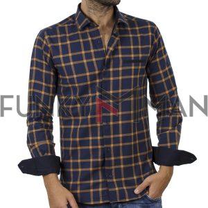 Καρό Μακρυμάνικο Πουκάμισο Slim Fit ENDESON FASHION 7050 σκούρο Μπλε