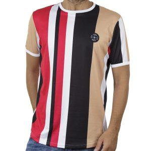 Ριγέ Κοντομάνικη Μπλούζα Fashion T-Shirt FREE WAVE 91120 Κόκκινο