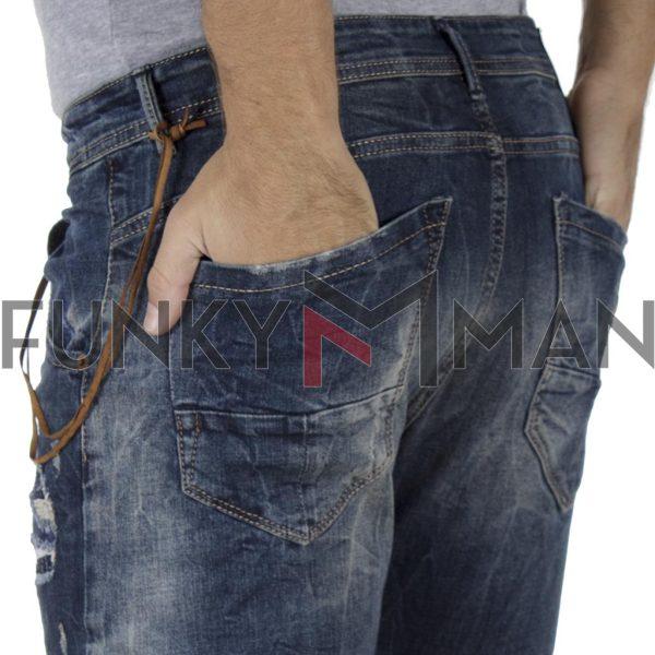 Τζιν Παντελόνι Slim Carrot με Λάστιχα κάτω Back2jeans T4F Μπλε
