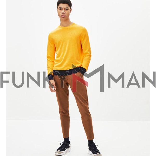 Βαμβακερή Πλεκτή Μπλούζα CELIO PECOOL Κίτρινο