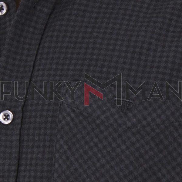 Καρό Cotton Fannel Πουκάμισο Regular Fit DOUBLE GS-486 Ανθρακί